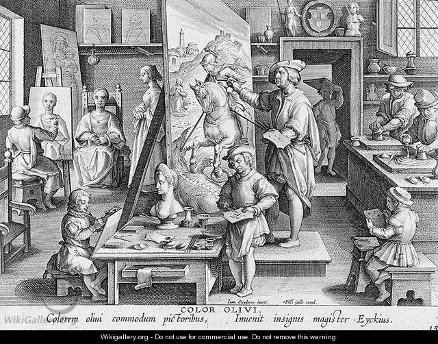 The Invention of Oil Paint, plate 15 from Nova Reperta New Discoveries engraved by Philip Galle 1537-1612 c.1600 - (after) Straet, Jan van der (Giovanni Stradano)