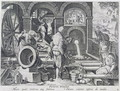The Invention of Gunpowder and the First Casting of Bronze Cannon, plate 4 from Nova Reperta New Discoveries engraved by Philip Galle 1537-1612 c.1600 - (after) Straet, Jan van der (Giovanni Stradano)