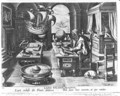 Flavio Gioia of Amalfi discovering the Power of the Lodestone, plate 3 from Nova Reperta New Discoveries engraved by Philip Galle 1537-1612 c.1600 - (after) Straet, Jan van der (Giovanni Stradano)