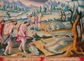 Decapitating Crocodiles, plate 46 from Venationes Ferarum, Avium, Piscium Of Hunting Wild Beasts, Birds, Fish engraved by Jan Collaert 1566-1628 published by Phillipus Gallaeus of Amsterdam - Jan van der (Joannes Stradanus) Straet