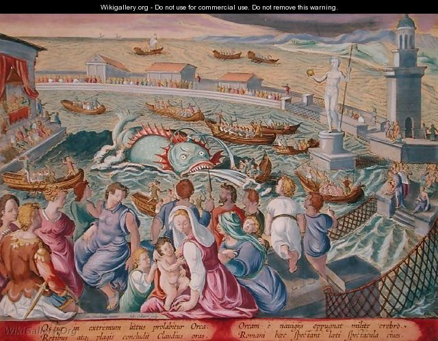 Sea Monster Attacking a Boat During a Spectacle in a Marine Enclosure at Ostia, plate 85 from