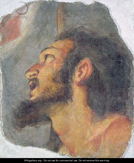 The Head of St. John the Baptist, fragment from a fresco - Bernardo Strozzi