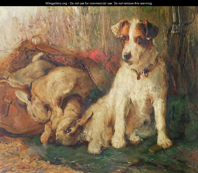 Left in Charge - A Fox Terrier with Game - Philip Eustace Stretton