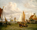 Dutch Men of War and Fishing Boats in a Port - Abraham Storck