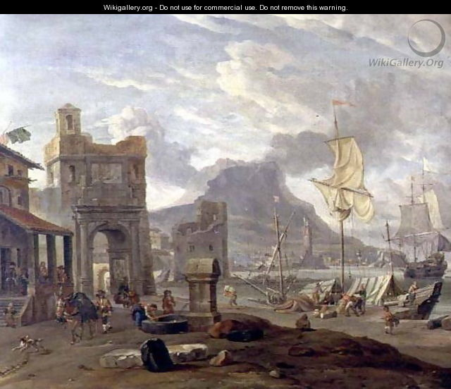 Sea Port with Large and Small Ships - Abraham Storck