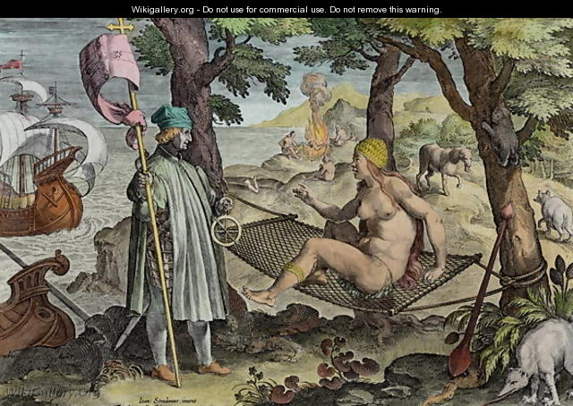 Columbus Discovering America, plate 2 from Nova Reperta New Discoveries engraved by Theodor Galle 1571-1633 c.1600 - (after) Straet, Jan van der (Giovanni Stradano)