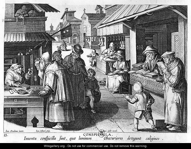 The Spectacles Seller, engraved by Jan Collaert and Joan Galle 1600-76 - (after) Straet, Jan van der (Giovanni Stradano)
