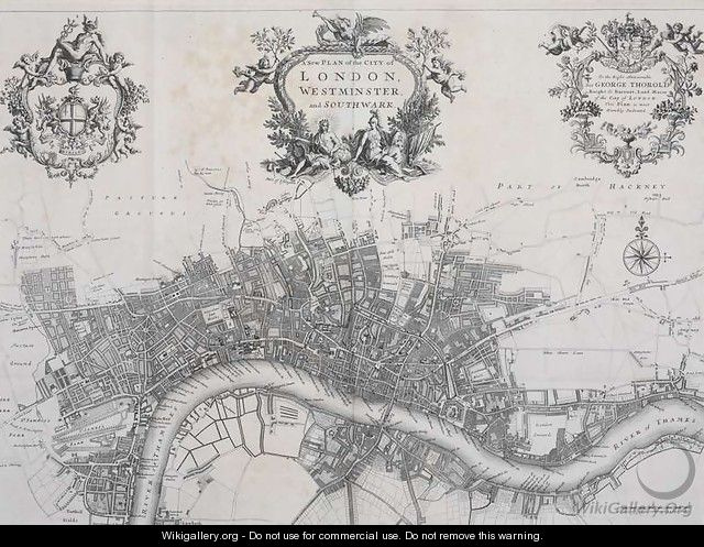 A New Plan of the City of London, Westminster and Southwark, in A Survey of the Cities of London and Westminster, printed by A. Churchill, J. Knapton, R. Knaplock, et al, 1720 - John Stow