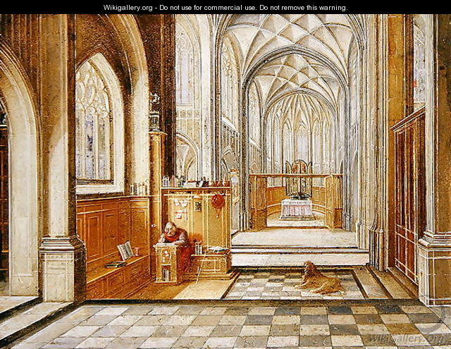 St Jerome in a Gothic Church - Hendrick van, the Younger Steenwyck