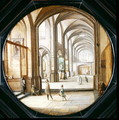 The interior of a cathedral with gentlemen and beggars, 1621 - Hendrick van, the Younger Steenwyck