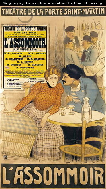 Poster advertising lassommoir by m m w busnach and o gastineau at the porte saint martin - Theatre porte saint martin ...