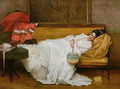 Girl in a white dress resting on a sofa - Alfred-Emile-Leopole Stevens