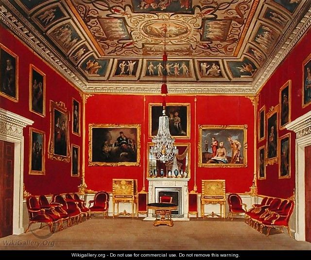 The Second Drawing Room, Buckingham House, from The History of the Royal Residences, engraved by Thomas Sutherland b.1785, by William Henry Pyne 1769-1843, 1818 - James Stephanoff