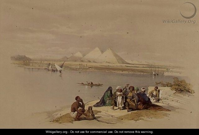 The Pyramids of Giza from the Nile, from Egypt and Nubia, Vol.1 - David Roberts