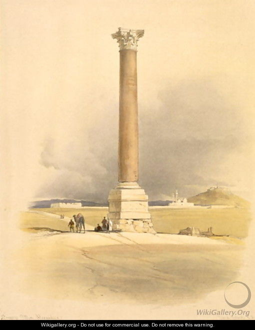 Pompeys Pillar, Alexandria, from Egypt and Nubia, Vol.1 - David Roberts
