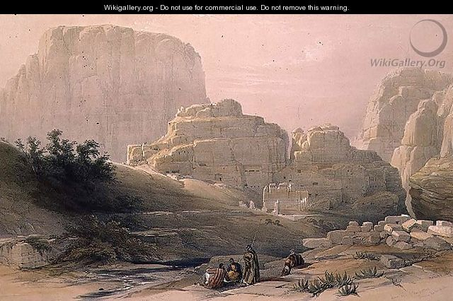 Lower End of the Valley showing the Acropolis, Petra, March 9th 1839, plate 102 from Volume III of The Holy Land, engraved by Louis Haghe 1806-85 pub. 1849 - David Roberts