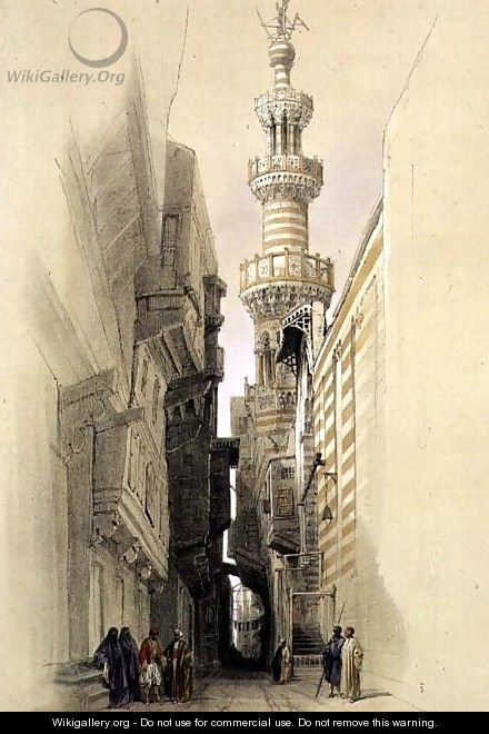 The Minaret of the Mosque of El Rhamree, Cairo, from Egypt and Nubia, Vol.3 - David Roberts