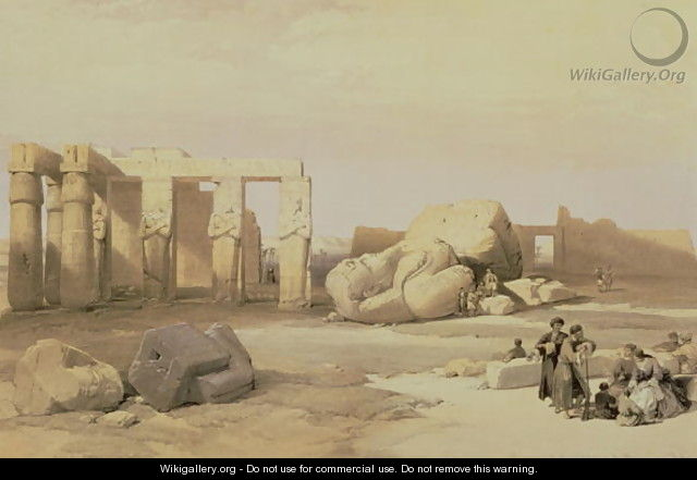 Fragments of the Great Colossus, at the Memnonium, Thebes, 1937 BC - David Roberts
