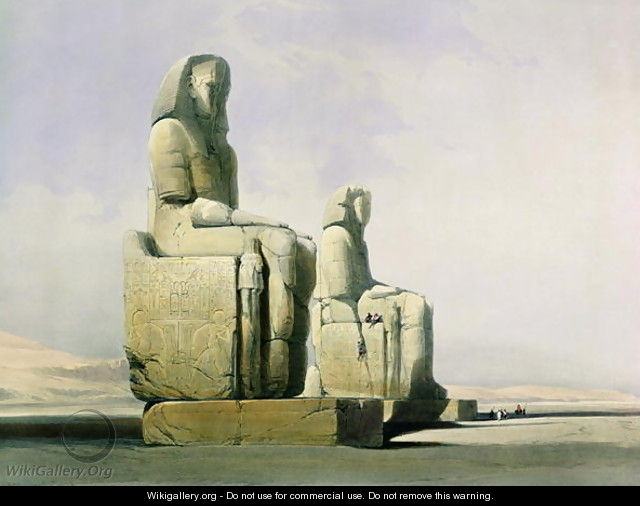 Thebes, December 4th 1838, detail of the colossi of Memnon, plate 12 from Volume I of Egypt and Nubia, engraved by Louis Haghe 1806-85 pub. 1846 - David Roberts