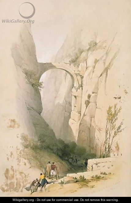 Triumphal Arch crossing the Ravine leading to Petra, plate 95 from Volume III of The Holy Land, engraved by Louis Haghe 1806-85 pub. 1849 - David Roberts