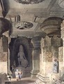 Interior of the Cave Temple of Indra Subba at Ellora, from Volume II of Scenery, Costumes and Architecture of India, drawn by David Roberts (1796-1864) etched by Thomas Kearnan fl.1821-50 and engraved by Henry Pyall 1795-1833 pub. by Smith, Elder an - David Roberts