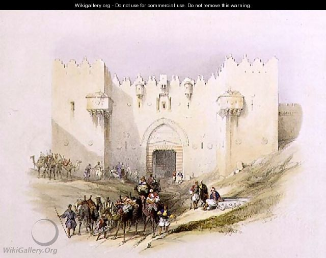 Gate of Damascus, Jerusalem, April 14th 1839, plate 3 from Volume I of The Holy Land, engraved by Louis Haghe 1806-85 pub. 1842 - David Roberts