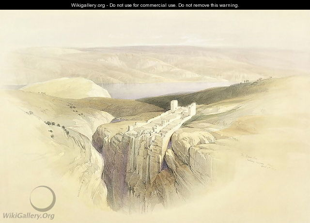 The Dead Sea looking towards Moab, April 4th 1839, plate 50 from Volume II of The Holy Land, engraved by Louis Haghe 1806-85 pub. 1843 - David Roberts