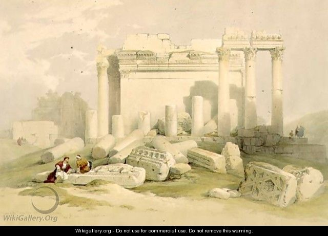 Ruins of the Eastern Portico of the Temple of Baalbec, May 6th 1839, plate 83 from Volume II of The Holy Land, engraved by Louis Haghe 1806-85 pub. 1843 - David Roberts