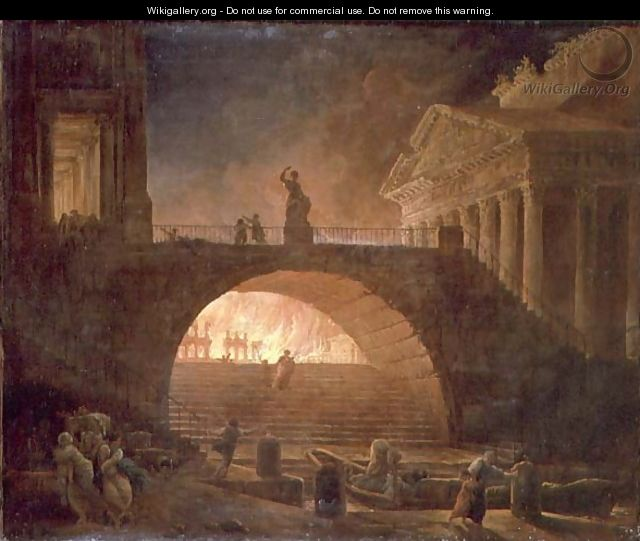 The Fire of Rome, 18 July 64 AD - Hubert Robert