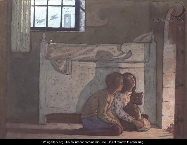 Study of children by a fire, possibly from The Bluebird by Maeterlinck, 1911 - Frederick Cayley Robinson