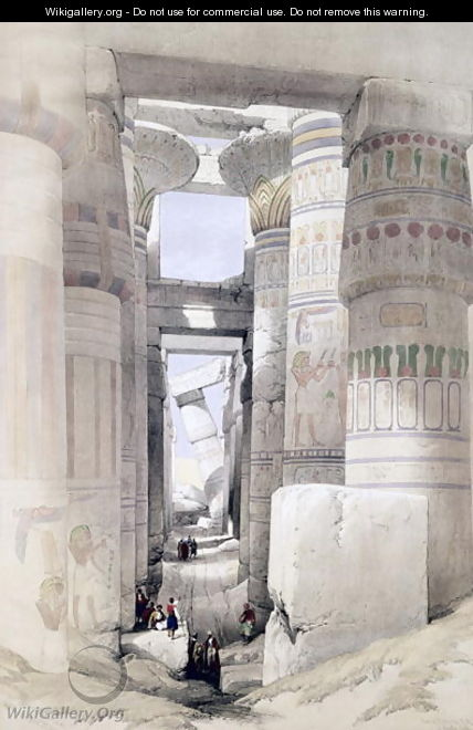 View through the Hall of Columns, Karnak, from Egypt and Nubia, Vol.1 - David Roberts