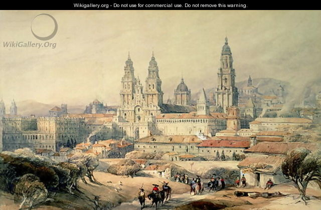 Santiago- the Cathedral from the south-west, 1837 - David Roberts