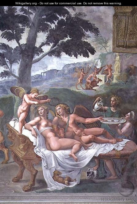 Cupid and Psyche with their daughter Voluptuousness, waited on by Ceres who pours water into a basin held by Juno, detail of the noble banquet, from the Sala di Amore e Psiche, 1528 - Giulio Romano (Orbetto)