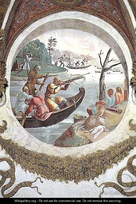 Scene showing that those born under the sign of Libra in conjunction with the constellation of Sagitta or the Arrow will be skilled at archery, symbolised by a hunt with archers shooting ducks with cross-bows and men fishing with bows and arrows, from the - Giulio Romano (Orbetto)
