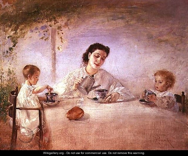 The artists wife Sophie with their daughters Mathilda and Adele, 1873 - Anton Romako