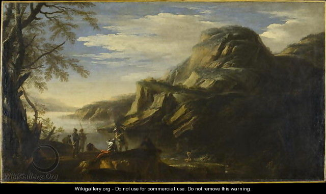 Rocky Landscape with Figures - Salvator Rosa
