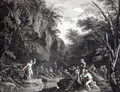 Saint John preaching in the Wilderness, engraved by John Browne, 1768 - (after) Rosa, Salvator