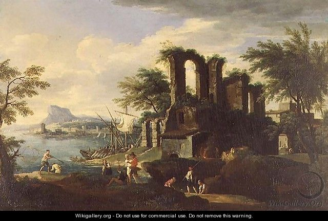 An Italian coastal landscape with fisherfolk - (circle of) Rosa, Salvator
