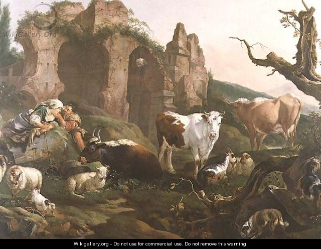 Lovers in a Classical Landscape with Animals - Johann Heinrich Roos