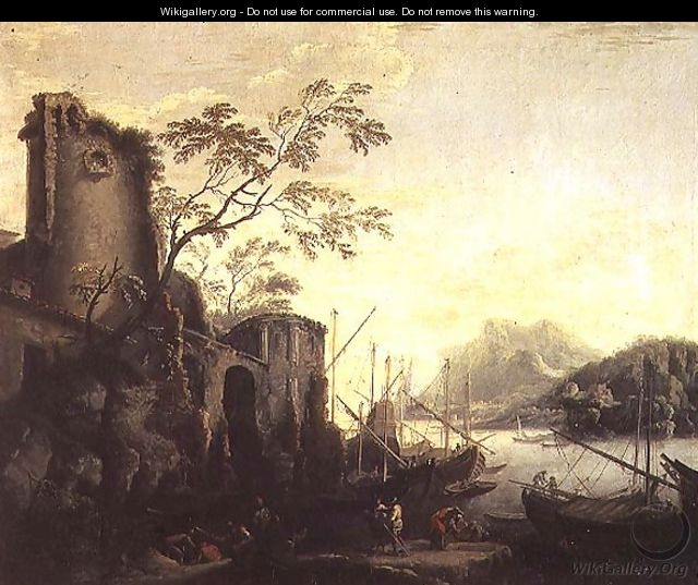River landscape with boats and ruins - Salvator Rosa