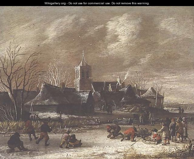Town in Winter with figures skating - Salomon Rombouts