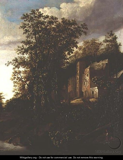 A wooded river landscape with peasants by a ruined manor house - Salomon Rombouts