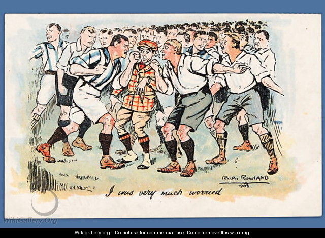 I Was Very Much Worried, football postcard, 1903 - Ralph Rowland