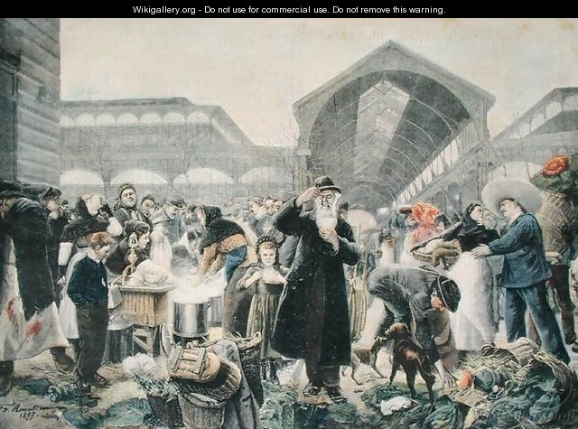 Soup Stand at Les Halles Market in the Morning, illustration from Le Petit Journal, 2nd March 1897, engraved by Fortune-Louis Meaulle 1844-1901 - (after) Rousseau, Jean Jacques