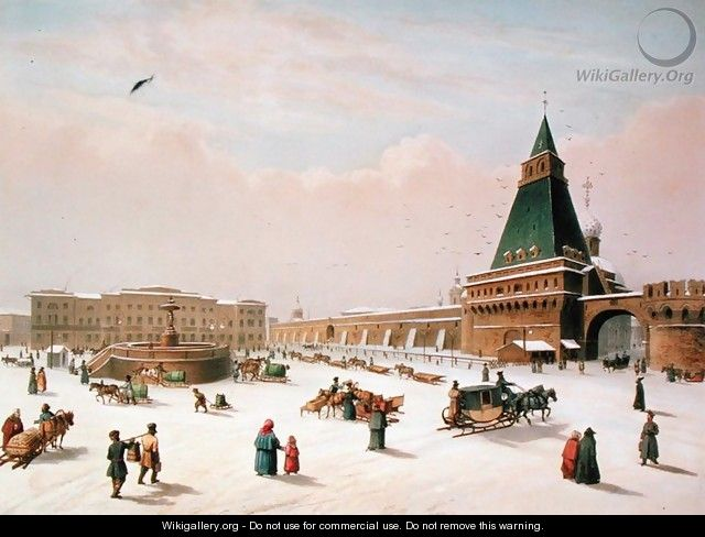 Loubyanska Square in Moscow, printed by Louis-Pierre-Alphonse Bichebois1801-50, 1830 - (after) Roussel, Paul Marie