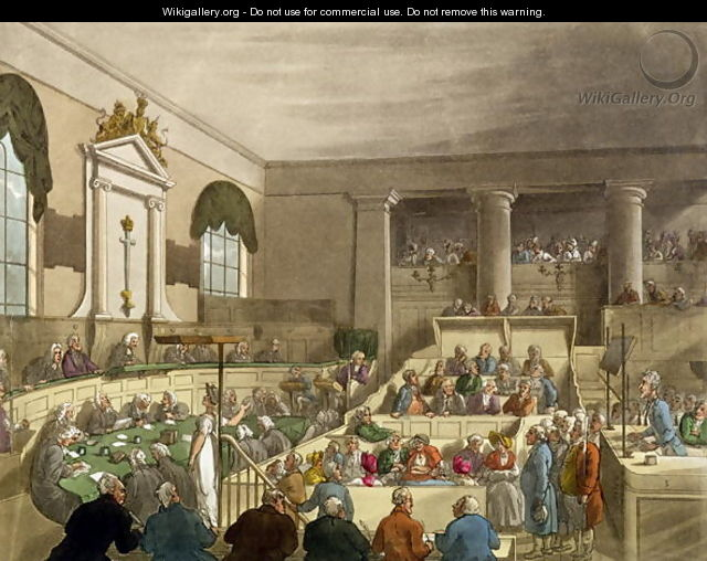 Trial in Progress at the Old Bailey - Thomas Rowlandson