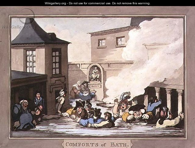 The Kings Bath, plate 7 from Comforts of Bath, 1798 - Thomas Rowlandson