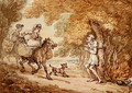 Dr Syntax bound to a tree by Highwaymen - Thomas Rowlandson