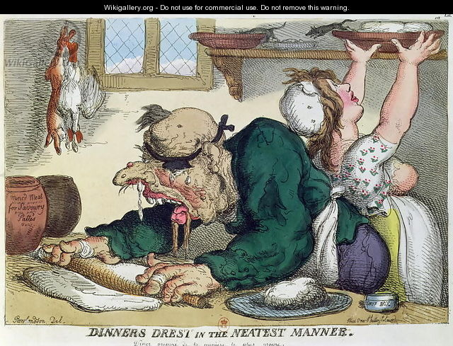 Dinners Drest in the Neatest Manner, satirical cartoon on culinary hygiene - Thomas Rowlandson