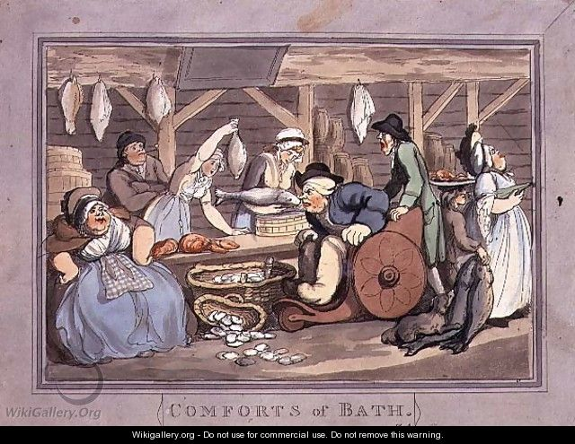 The Fish Market, plate 4 from Comforts of Bath, 1798 - Thomas Rowlandson